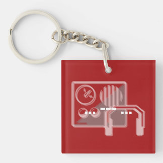 Morse code SOS keyring red Double-Sided Square Acrylic Key Ring