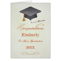 Mortar and diploma Graduation Congratulations Card