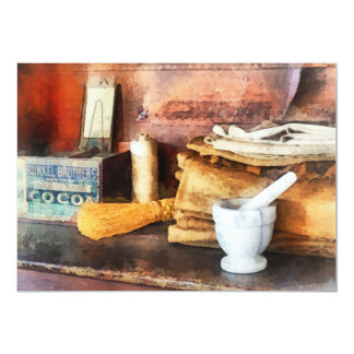 Mortar and Pestle and Box of Cocoa 13 Cm X 18 Cm Invitation Card