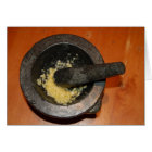 mortar and pestle garlic aioli card