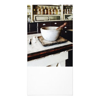 Mortar and Pestle in Apothecary Customized Photo Card