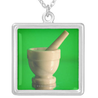 Mortar and pestle silver plated necklace