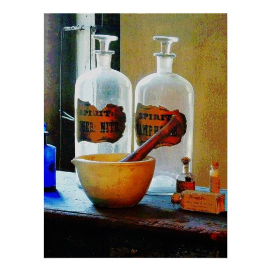 Mortar and Pestle With Bottles Poster