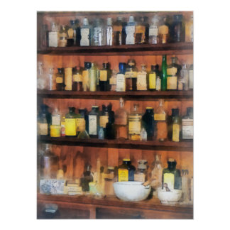 Mortar, Pestles and Medicine Bottles Poster