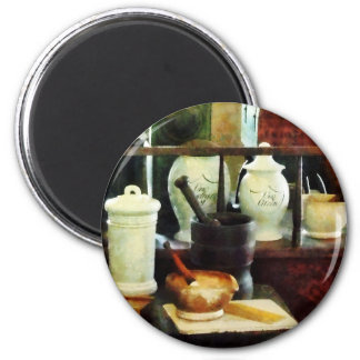 Mortar, Pestles and White Jars 6 Cm Round Magnet