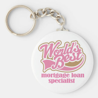 Mortgage Loan Specialist Pink Gift Basic Round Button Key Ring