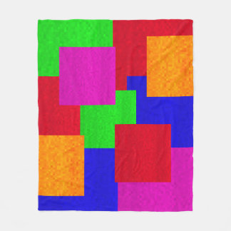Mosaic Abstract Blocks Of Colours Pattern, Fleece Blanket