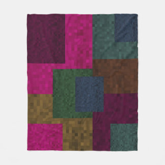 Mosaic Abstract Blocks Patchwork Pattern, Fleece Blanket