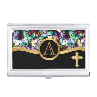 Mosaic Abstract Stain Glass | Golden Cross Business Card Holder