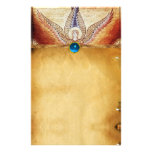 MOSAIC ANGEL  Brown Parchment Blue Sapphire Personalised Stationery