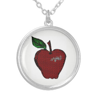 Mosaic Apple Design Silver Plated Necklace