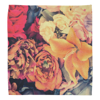 Mosaic Autumn Flowers Bandana