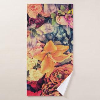 Mosaic Autumn Flowers Bath Towel