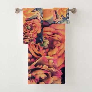 Mosaic Autumn Flowers Bath Towel Set