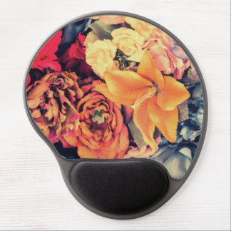 Mosaic Autumn Flowers Gel Mouse Mat