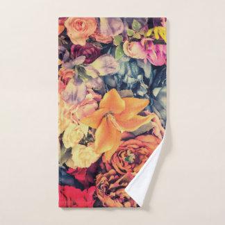 Mosaic Autumn Flowers Hand Towel