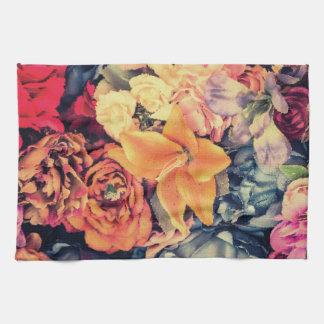 Mosaic Autumn Flowers Kitchen  Towel