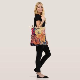 Mosaic Autumn Flowers Tote Bag