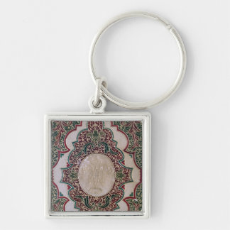 Mosaic binding, c.1745 Silver-Colored square key ring