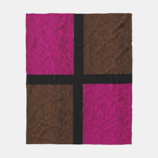 Mosaic Blocks Of Pink And Brown, Fleece Blanket