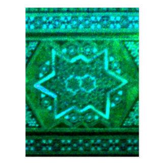 Mosaic Box Green Postcard