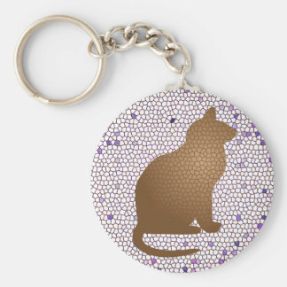 Mosaic Cat in Purple White and Brown Key Ring