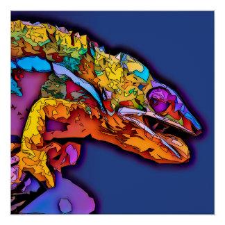 Mosaic Chameleon Poster