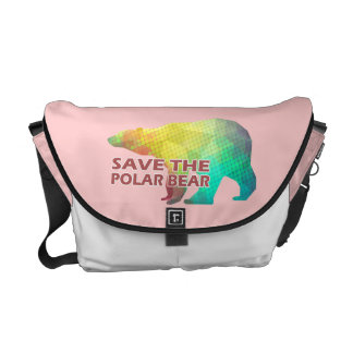 MOSAIC COLOR POLAR BEAR(SAVE THE POLAR BEAR) MESSENGER BAG
