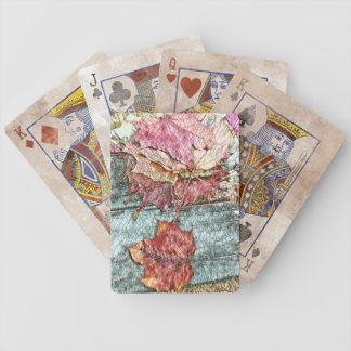 Mosaic Colorful Maple Leaves of Michigan Bicycle Playing Cards