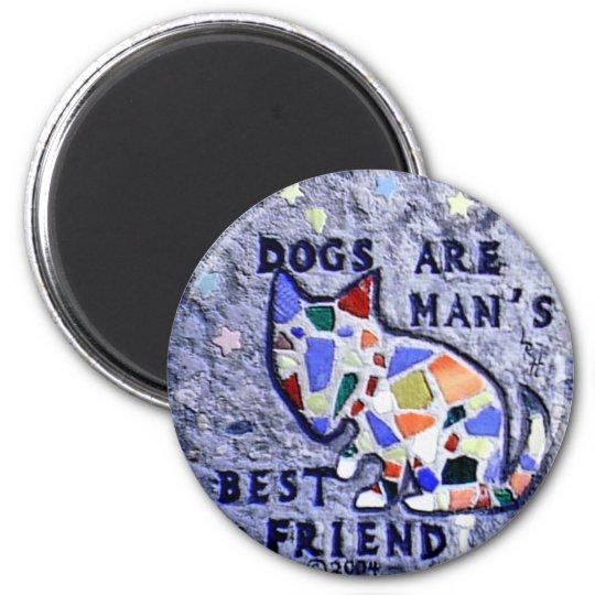 Mosaic Dog 6 Cm Round Magnet