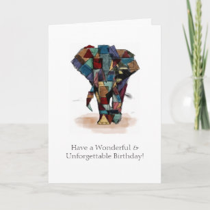 Mosaic Elephant Birthday Card
