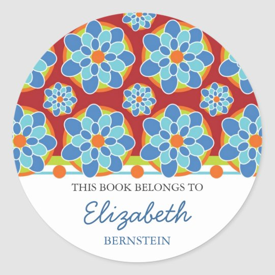 Mosaic Floral Bookplates Classic Round Sticker