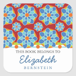 Mosaic, Floral Pattern Bookplates Square Sticker