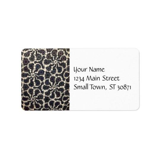 Mosaic Flower Petals Black Brown Tan Address Label