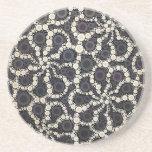 Mosaic Flower Petals Black Brown Tan Drink Coasters