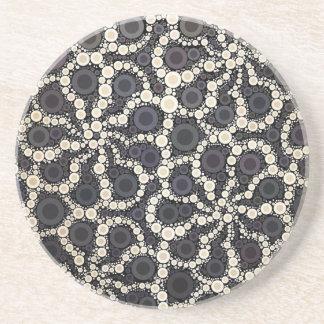 Mosaic Flower Petals Black Brown Tan Coaster