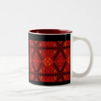 mosaic flower red Two-Tone coffee mug