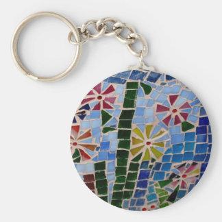 Mosaic Flowers Key Ring