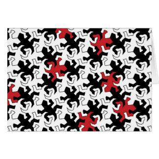 Mosaic Geckos - talk black white Card
