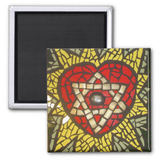 Mosaic Glowing Heart Star of David on Green Square Magnet