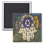 Mosaic Gold Hamsa with Star and Evil Eye Square Magnet