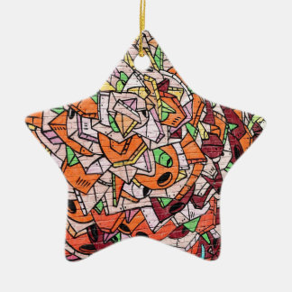 Mosaic Graffiti Art Ceramic Star Decoration