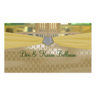 Mosaic Green and Gold Squares & Triangles Business Card Templates