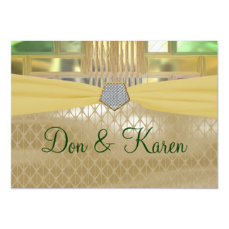 Mosaic Green & Gold Squares & Triangles Wedding 13 Cm X 18 Cm Invitation Card
