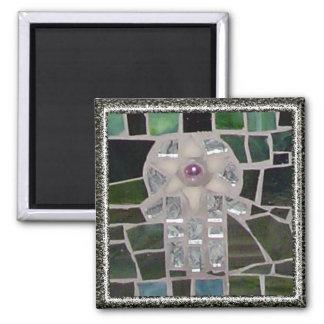 Mosaic Hamsa Starof of David Evil Eye on Green Square Magnet