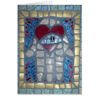 Mosaic Hamsa W/Heart and Evil Eye Card