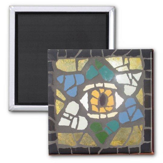 Mosaic Hearts Star of David w/Evil Eye Square Magnet