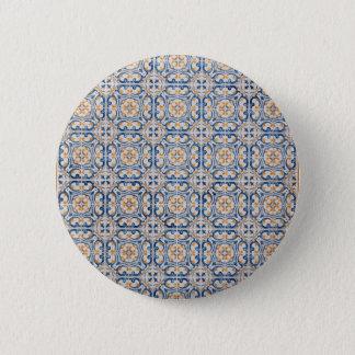 mosaic lisbon blue decoration portugal old tile 6 cm round badge