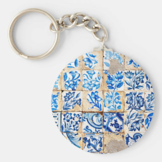 mosaic lisbon blue decoration portugal old tile basic round button key ring