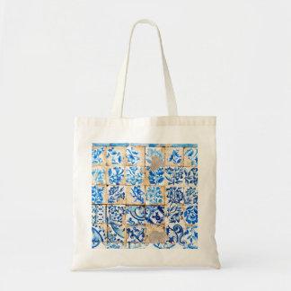 mosaic lisbon blue decoration portugal old tile budget tote bag